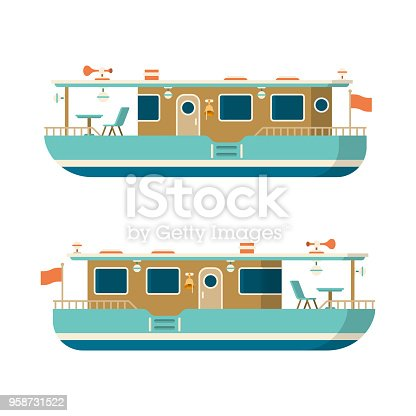 istock Vector sea or river pleasure yacht in flat style 958731522