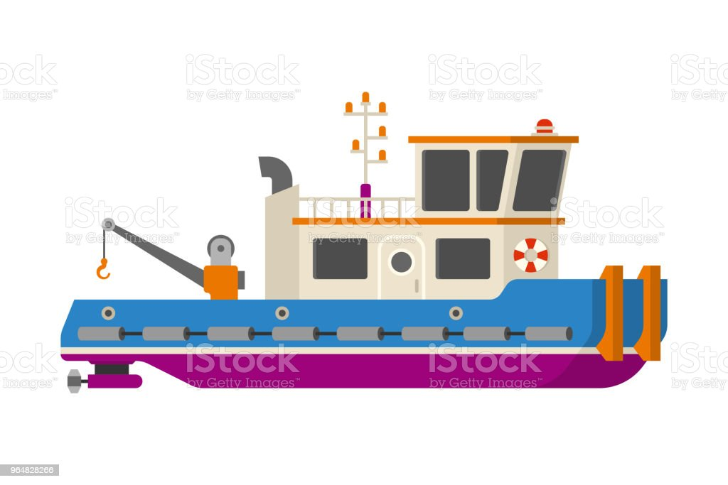 Vector sea or river towboat pusher ship in flat style royalty-free vector sea or river towboat pusher ship in flat style stock vector art & more images of buoy