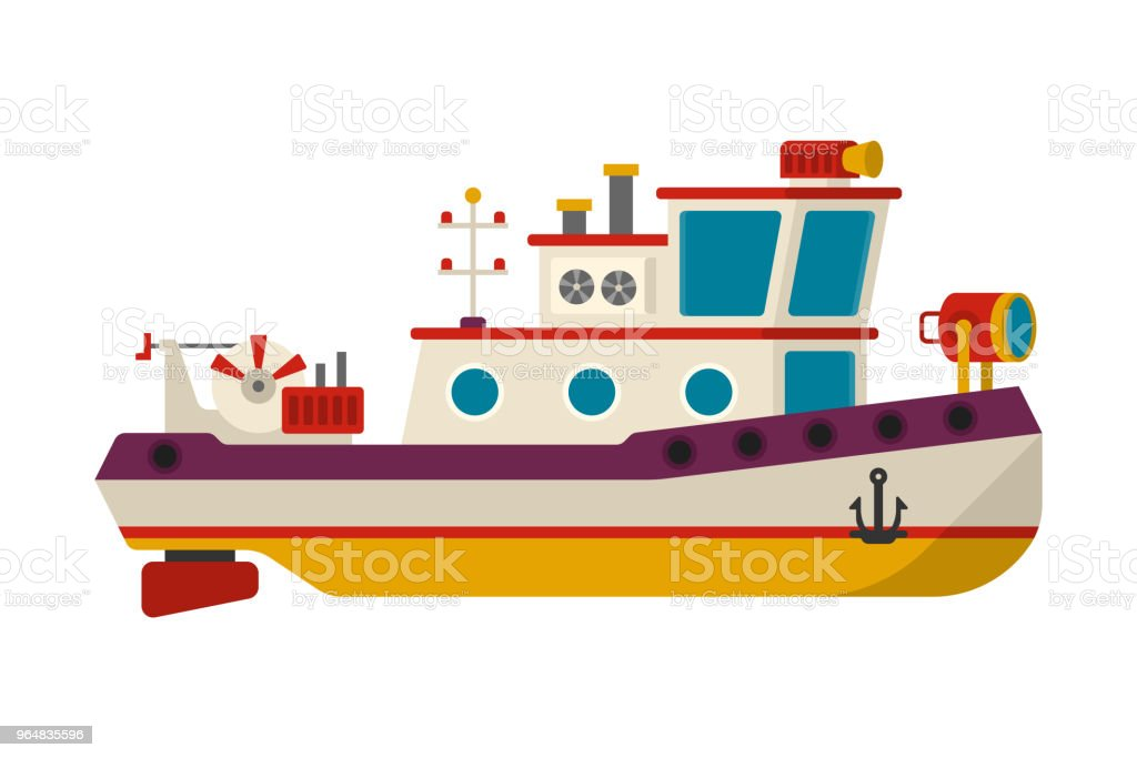 Vector sea or river towboat pusher ship in flat style royalty-free vector sea or river towboat pusher ship in flat style stock vector art & more images of anchor - vessel part