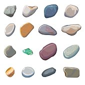 Vector sea stones isolated on white background