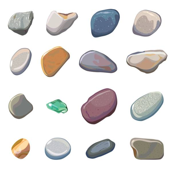 vector sea stones isolated on white background - pebbles stock illustrations, clip art, cartoons, & icons