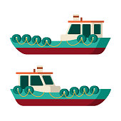 Vector sea tow ship in flat style