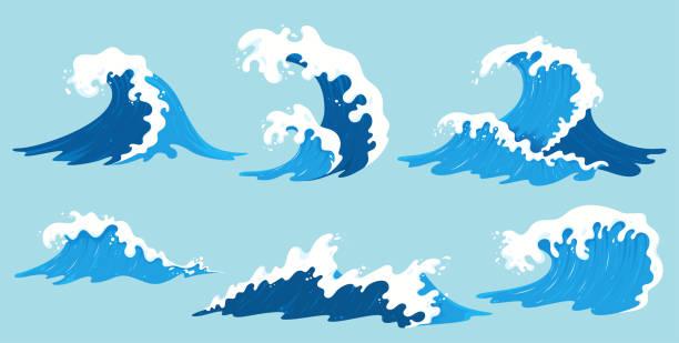 kolekcja fal morskich wektorowych. ilustracja niebieskich fal oceanicznych z białą pianką. izolowane rozpryski wody w stylu kreskówki. element do twojego projektu. - fala woda stock illustrations