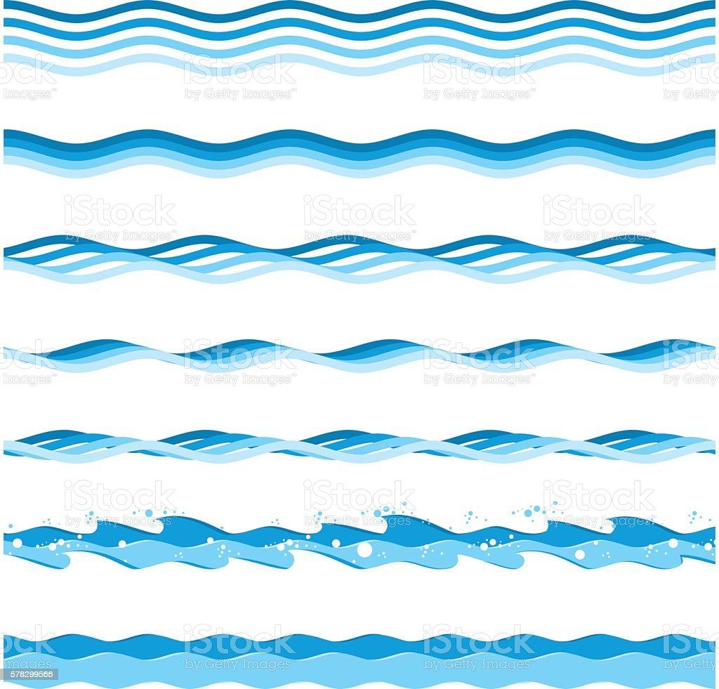 Vector sea waves. vector art illustration