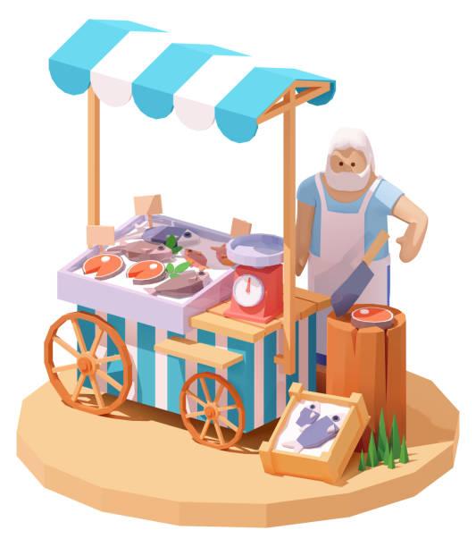 illustrazioni stock, clip art, cartoni animati e icone di tendenza di bancarella di frutti di mare vettoriali e mercato del pesce - banchi di pesci