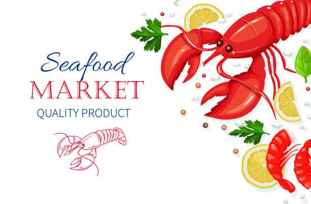 stockillustraties, clipart, cartoons en iconen met vector zeevruchten. gezond voedsel koken concept. - tafel restaurant top