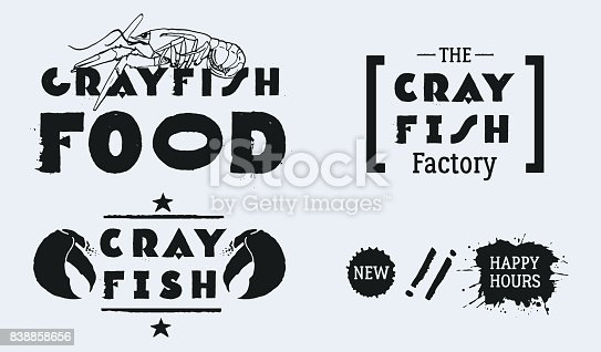 Claw illustration with line, star decoration and text CRAYFISH. Blots NEW, HAPPY HOURS
