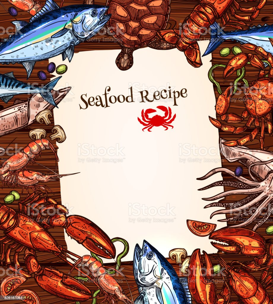 Vector seafood recipe blank design of fishes catch vector art illustration