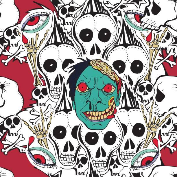 stockillustraties, clipart, cartoons en iconen met vector gelast patroon. gek zombie - bloemen storm