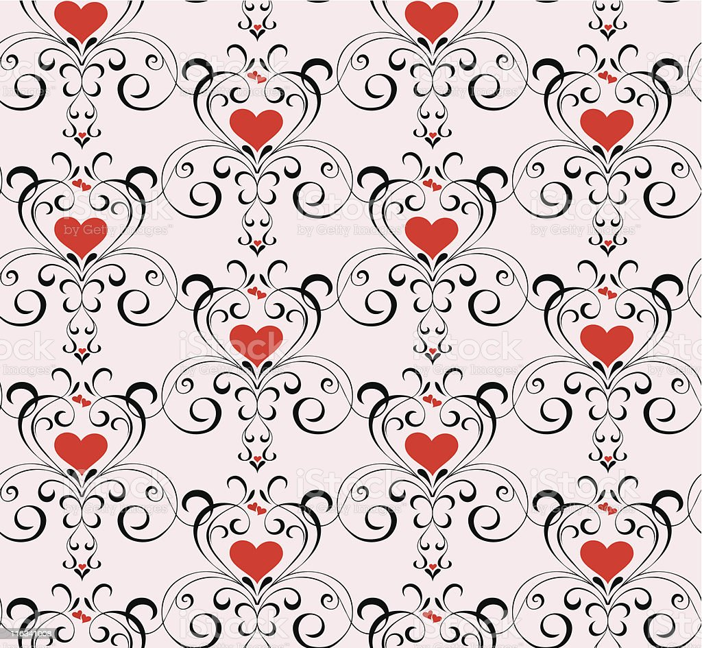 Vector seamles pattern with hearts royalty-free stock vector art