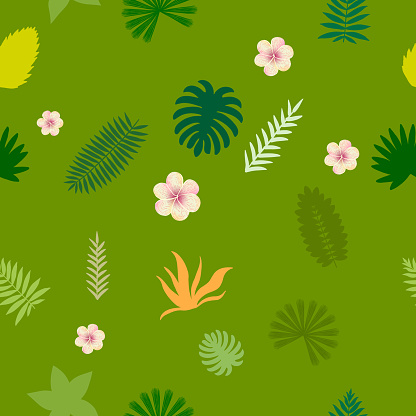vector seamles summer tropical abstract green background