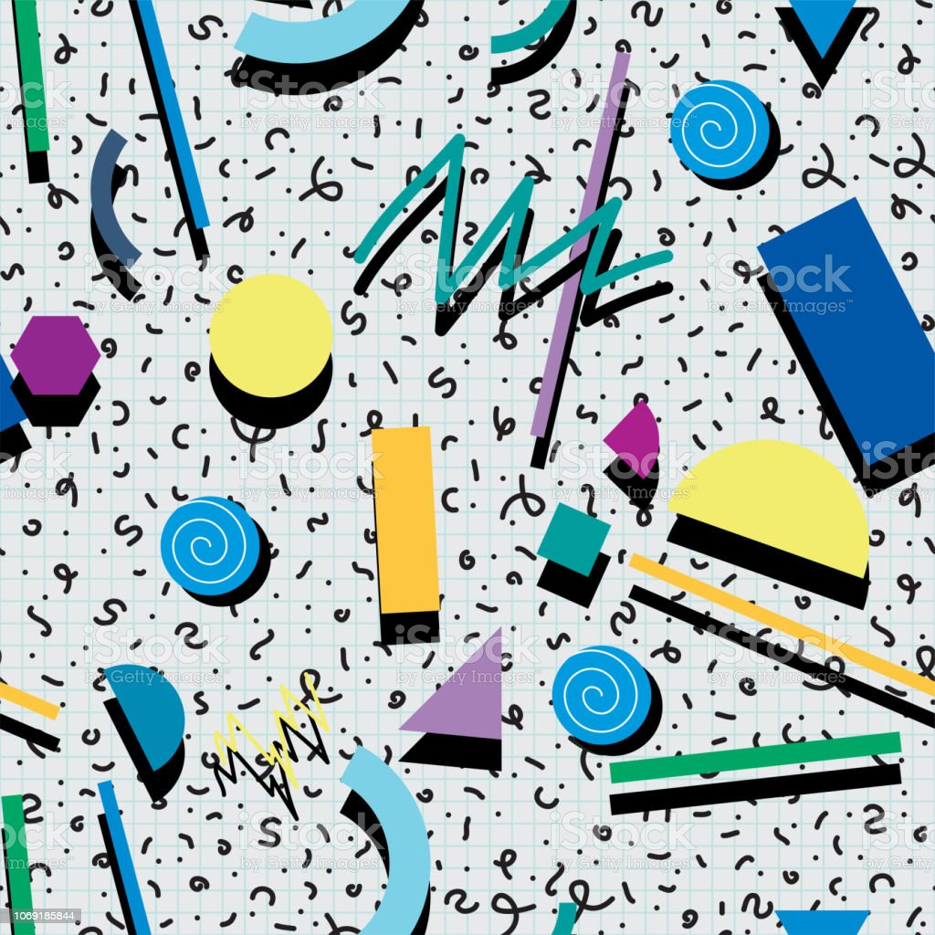 Vector Seamless 80s Or 90s Background Pattern Stock Illustration - Download  Image Now