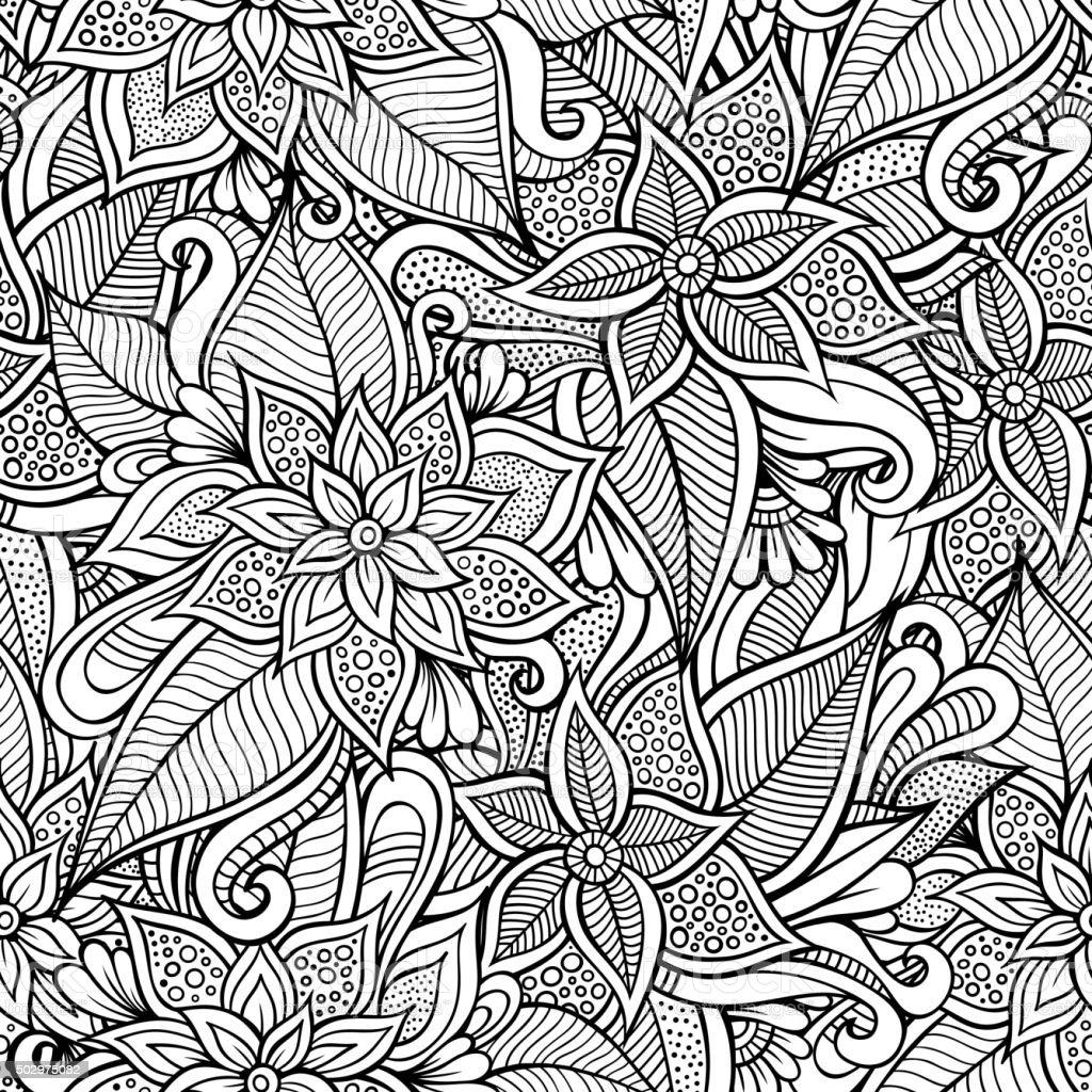 Vector seamless abstract flowers pattern vector art illustration