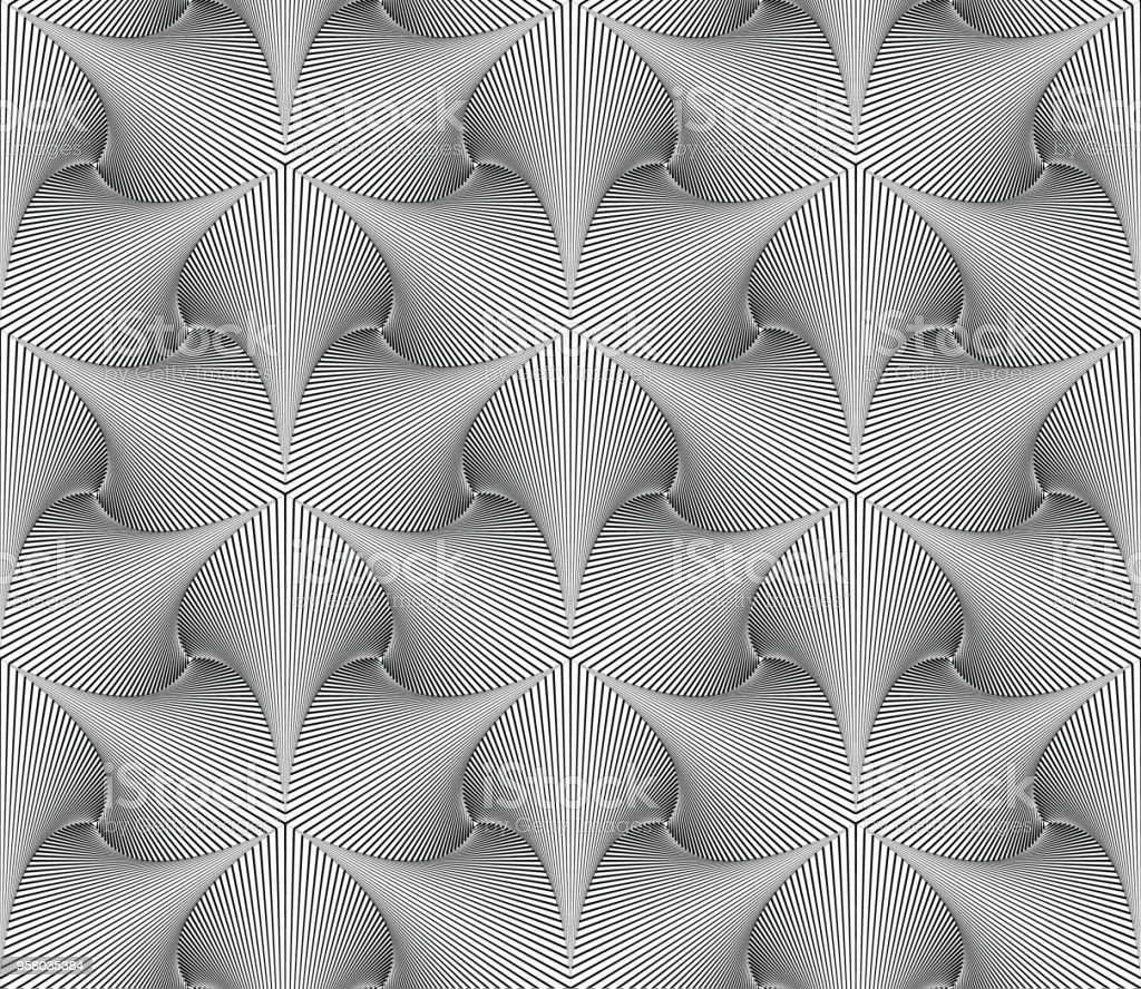 Vector seamless abstract geometric background. Optical art. Engraving style. Elegant background for your designs. vector art illustration