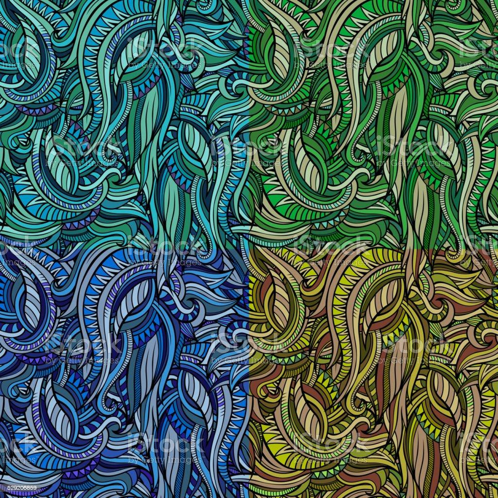 Vector seamless abstract nature pattern set vector art illustration
