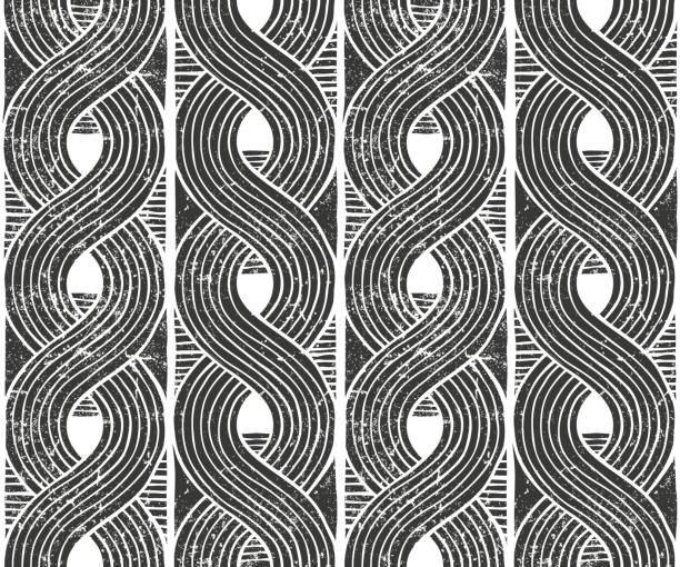 Vector seamless abstract pattern. Hand drawn background. Seamless abstract pattern with grunge texture. Hand drawn background. EPS10 vector illustration in linocut style. linocut stock illustrations