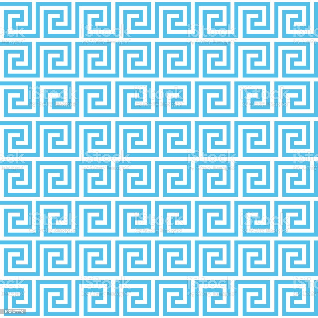 Vector seamless ancient Greek meander pattern background. Editable stroke.