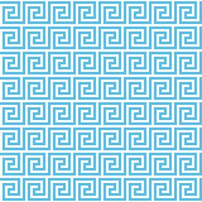 Vector seamless ancient Greek meander pattern background. Editable stroke.