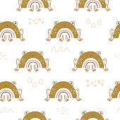 istock Vector seamless animal pattern with silhouettes of frogs or toads with body in see rainbow. 1249012044