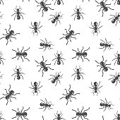 Vector seamless ant colony insect pattern