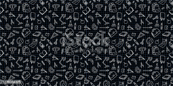 istock Vector seamless back to school pattern with supplies stationary doodle drawing black and white colors 1136034325