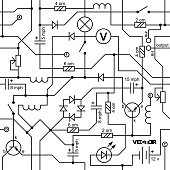 Vector seamless background of electrical circuit of radio device (resistance, transistor, diode, capacitor, inductor).