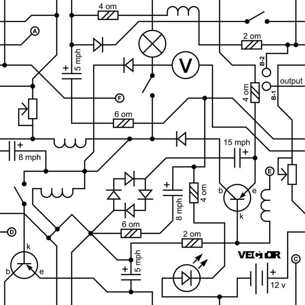 vector seamless background of electrical circuit of radio device (resistance, transistor, diode, capacitor, inductor). - conspiracy stock illustrations