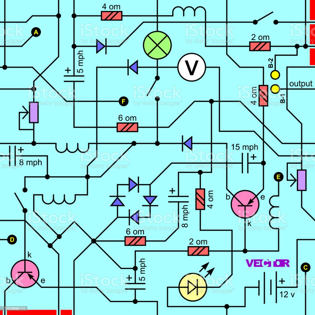 Vector Seamless Background Of Electrical Circuit Of Radio Device ...