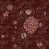 Vector seamless pattern on the coffee theme with coffee symbols, coffee beans, blots and inscriptions on a background of old manuscript in retro style. Can be used as wallpaper or wrapping paper