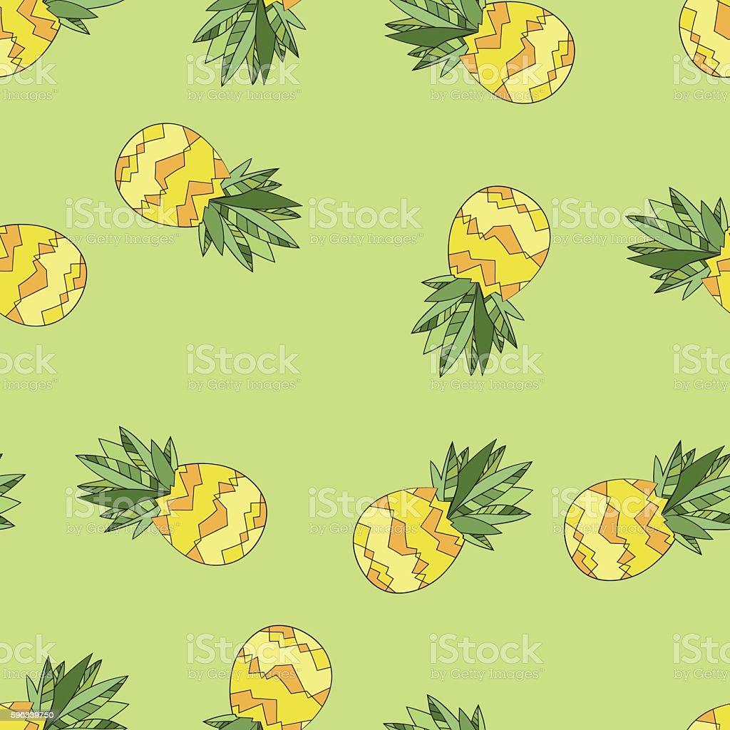 Vector Seamless Background Pattern with Pineapples. Hand drawn Lizenzfreies vector seamless background pattern with pineapples hand drawn stock vektor art und mehr bilder von abstrakt