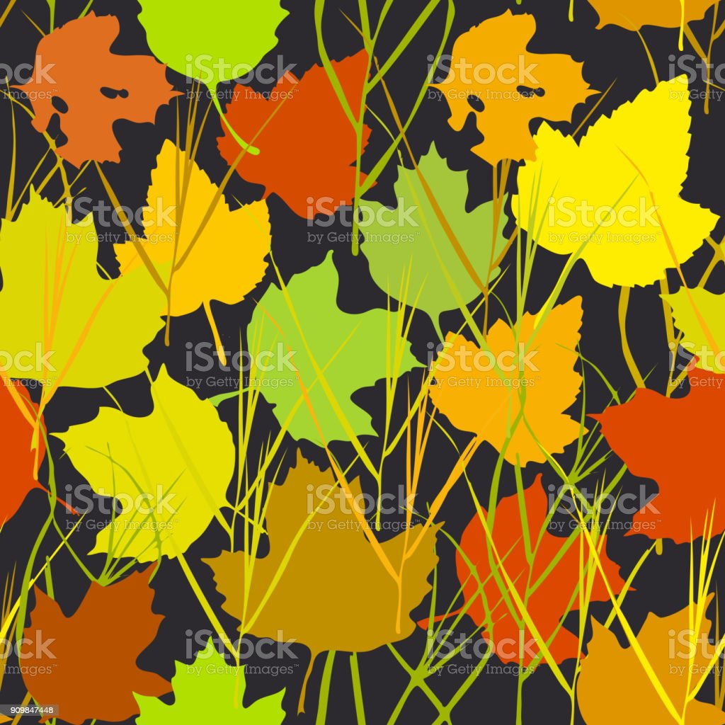 Vector seamless background with autumn maple leaves  for fashion textile or web background. green yellow orange beige silhouette on black background. Vector vector art illustration