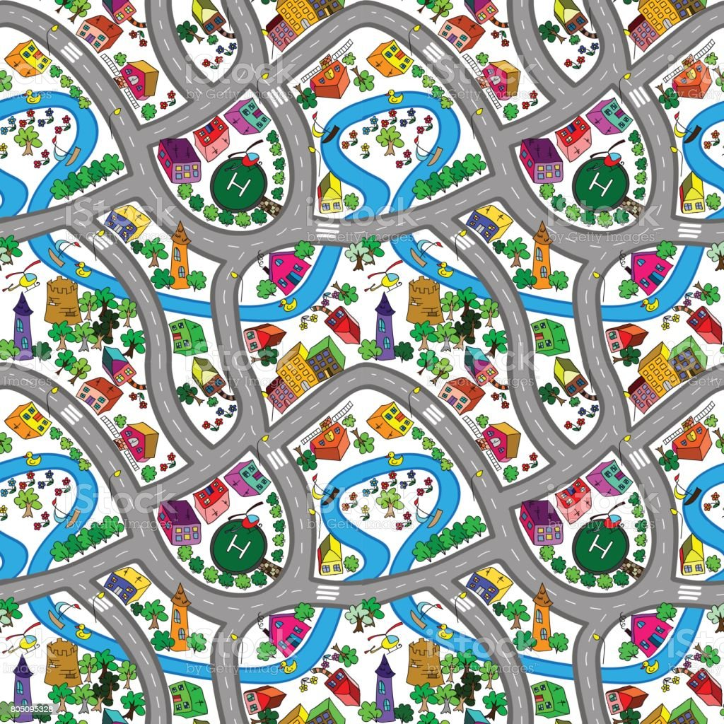 Vector seamless background with cartoon roads and cars. vector art illustration
