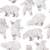 Vector seamless background with hand drawn funny bears. Hipster stylish design.