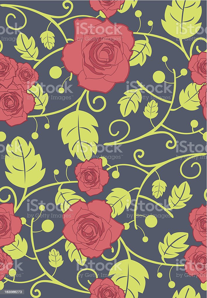 Vector seamless background with red roses royalty-free stock vector art