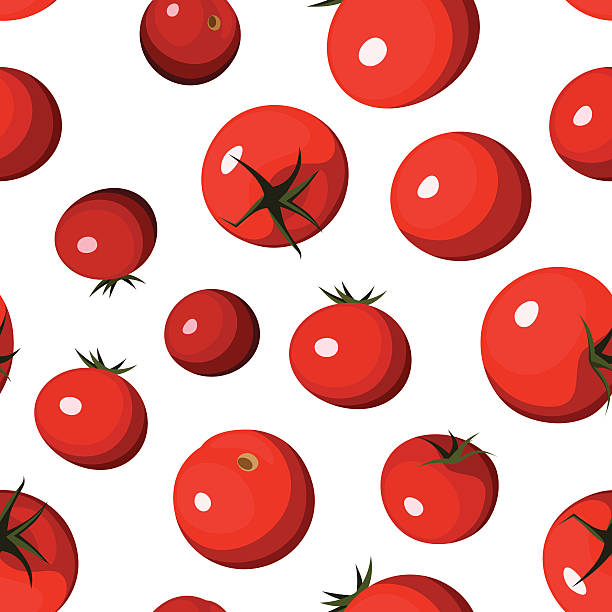 vector seamless background with red tomatoes on white. - cherry tomato stock illustrations
