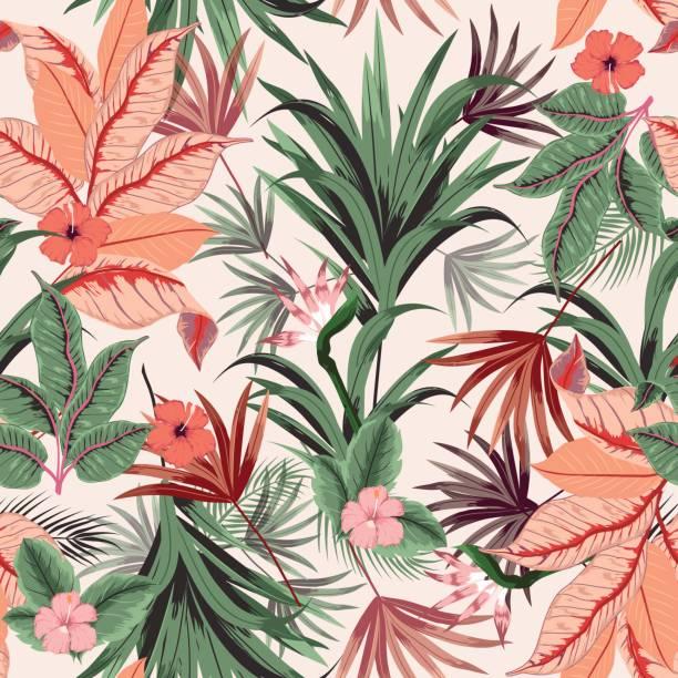 nahtlose schöne künstlerische hellen tropischen vektormuster mit exotischen wald. - hibiskusgarten stock-grafiken, -clipart, -cartoons und -symbole