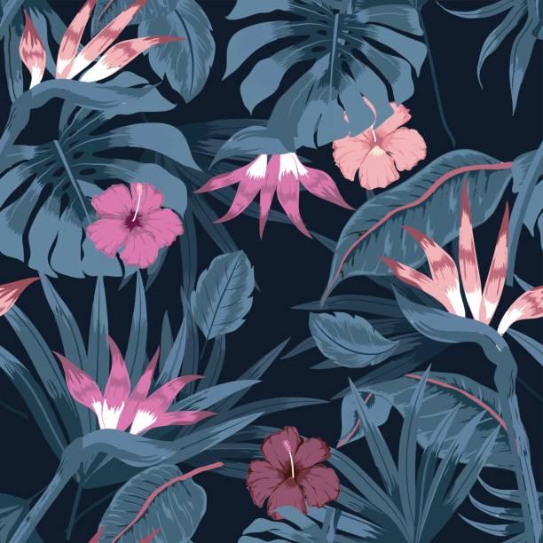 nahtlose schöne künstlerische dunklen tropischen vektormuster mit exotischen wald. - hibiskusgarten stock-grafiken, -clipart, -cartoons und -symbole