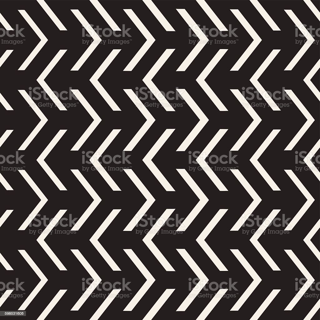 Vector Seamless Black And White Arrow Shape Geometric Pattern vector seamless black and white arrow shape geometric pattern – cliparts vectoriels et plus d'images de abstrait libre de droits