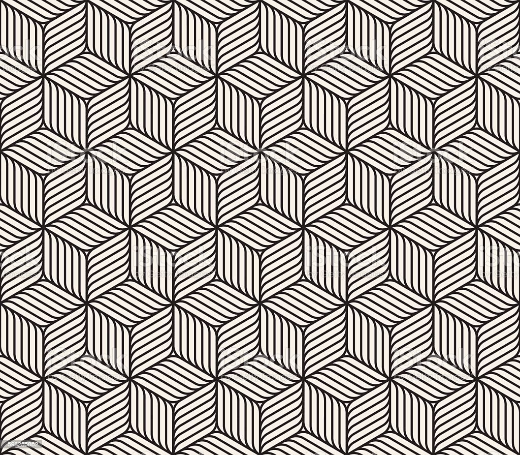Lines And Shapes : Vector seamless black and white cube shape lines geometric