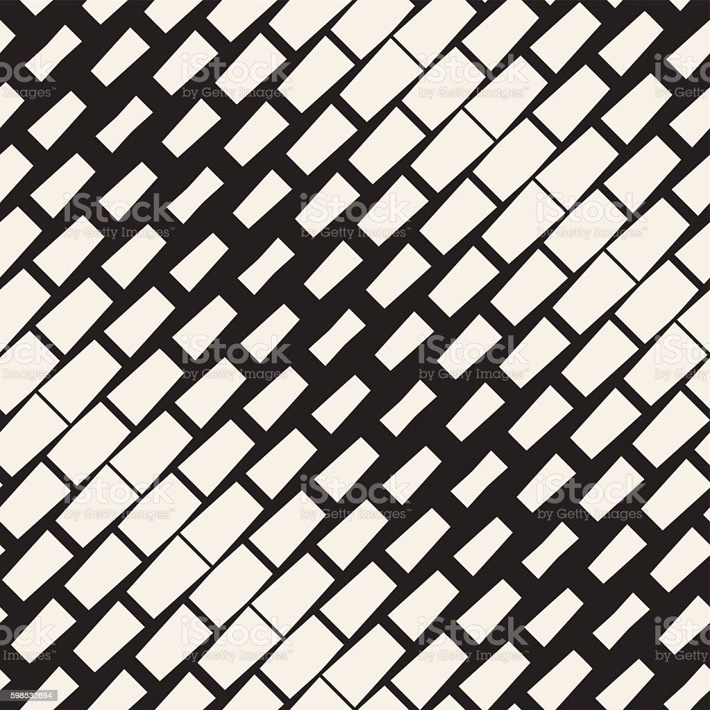 Vector Seamless Black And White Diagonal Rectangle Halftone Geometric Pattern vector seamless black and white diagonal rectangle halftone geometric pattern – cliparts vectoriels et plus d'images de abstrait libre de droits