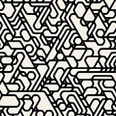 Vector Seamless Black And White Futuristic Techno Alien Pattern