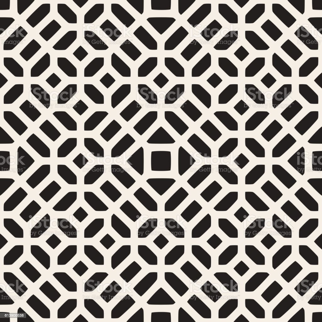 Vector Seamless Black And White Geometric Ethnic Mosaic Pattern  royalty-free stock vector art