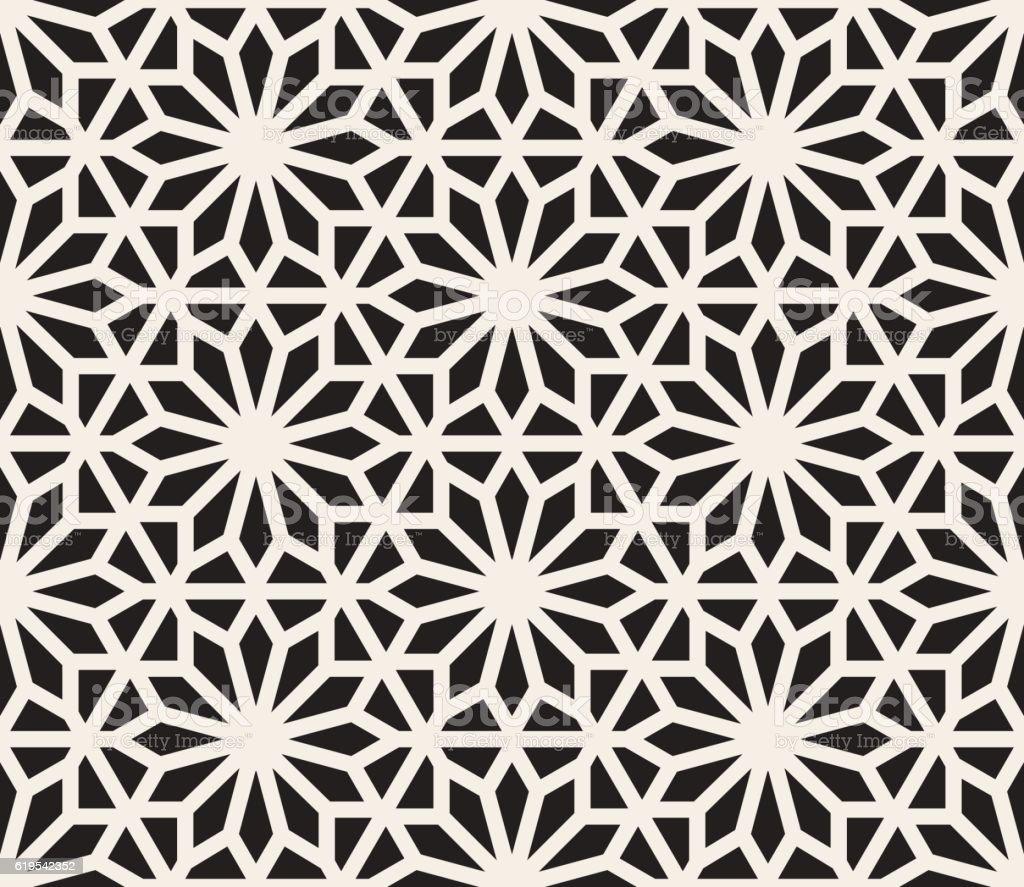 Vector Seamless Black And White Geometric Hexagon Lines Pattern vector art illustration