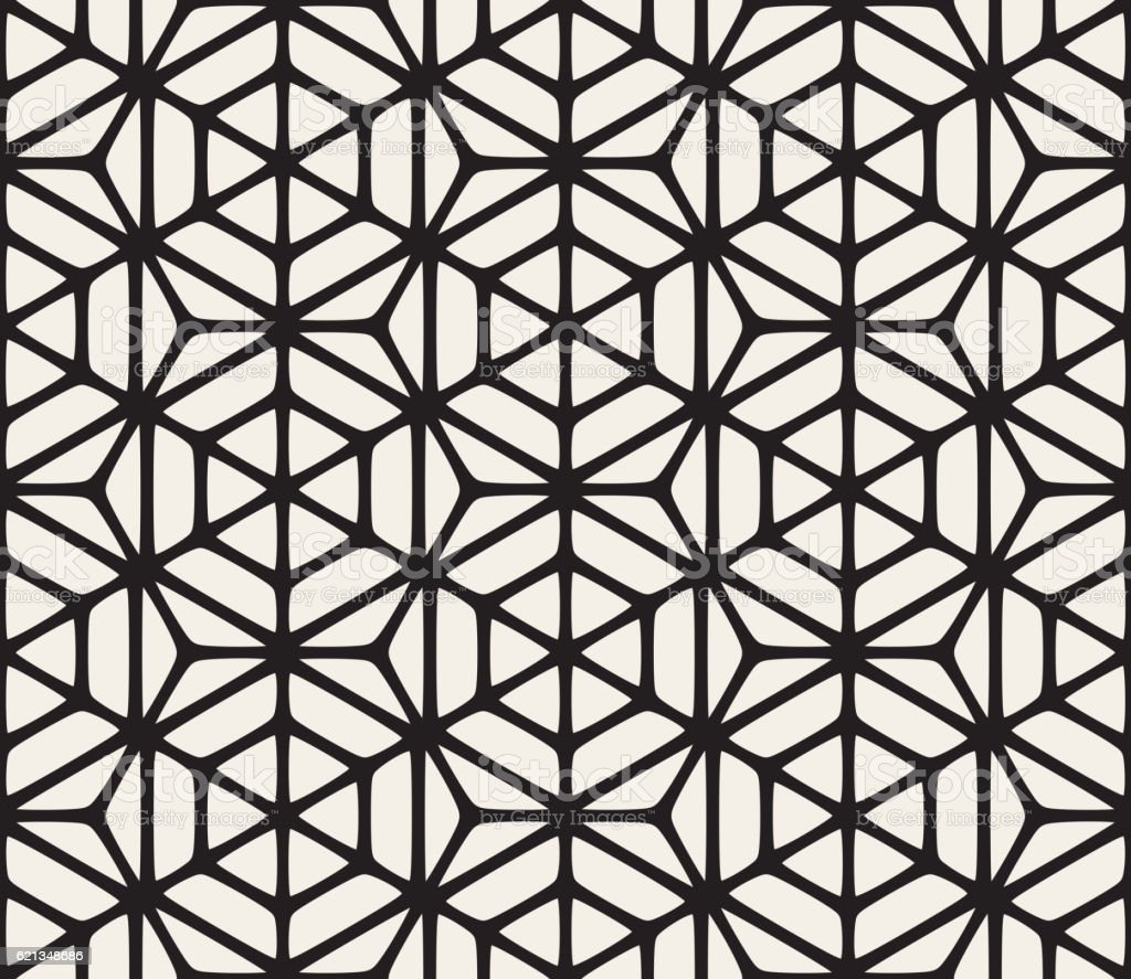 Vector Seamless Black And White Geometric Hexagon Rounded Grid Pattern vector art illustration