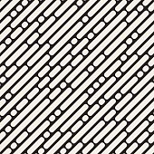 Vector Seamless Black and White Rounded Diagonal Lines Pattern