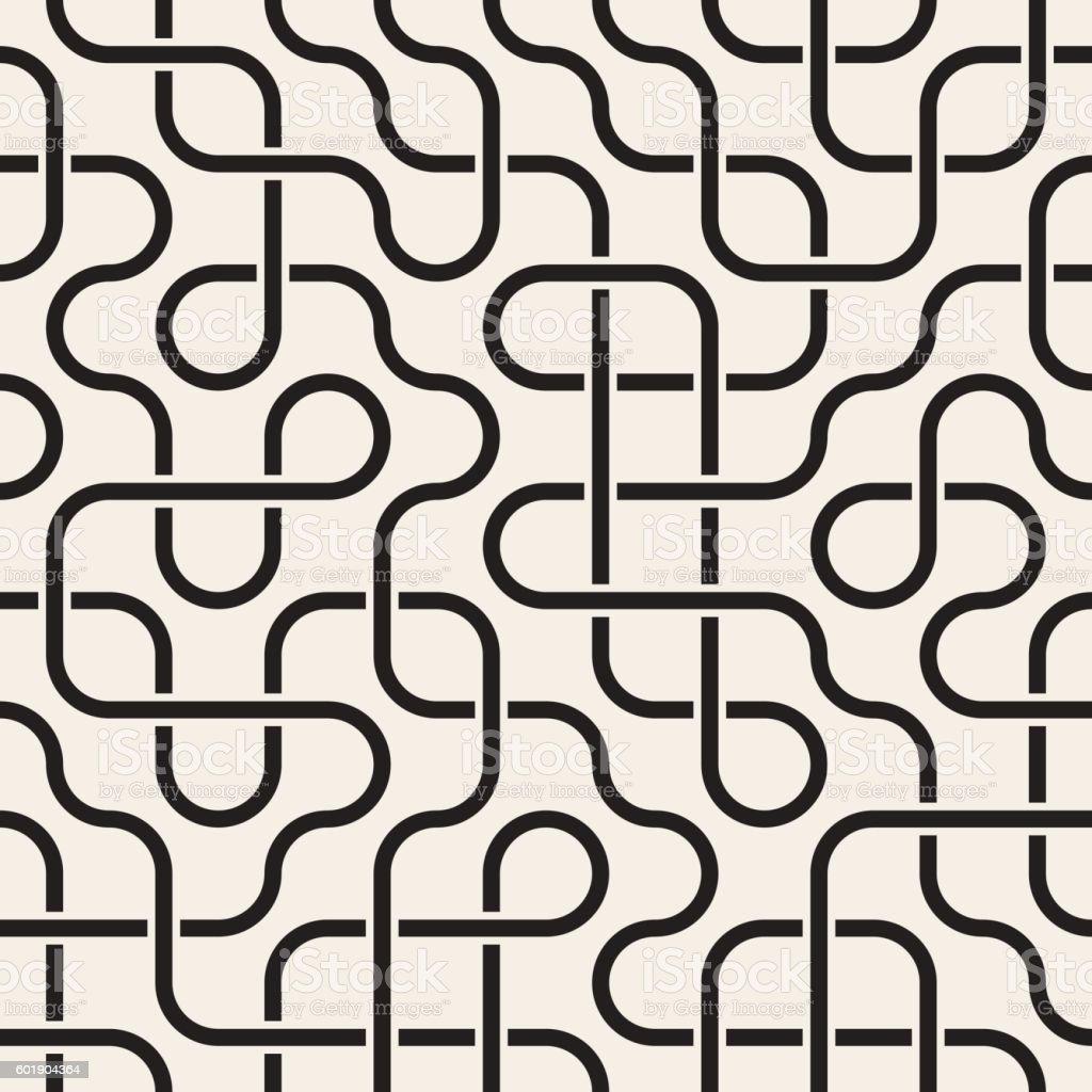 Vector Seamless Black and White Rounded Lines Lattice Irregular Pattern vector art illustration