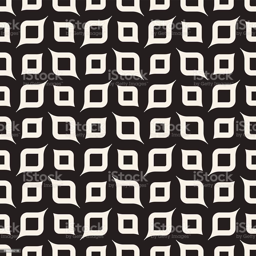 Vector Seamless Black And White Rounded Shapes Geometric Pattern vector seamless black and white rounded shapes geometric pattern – cliparts vectoriels et plus d'images de abstrait libre de droits