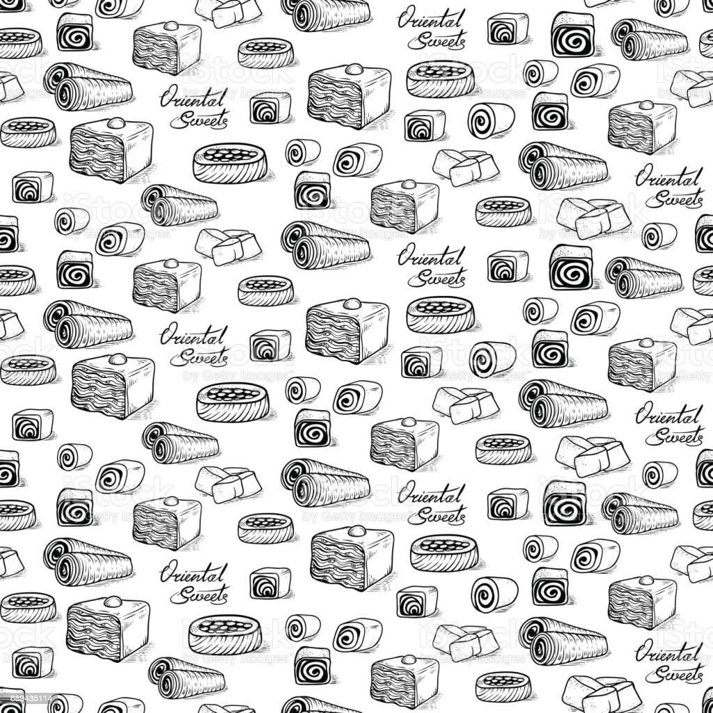 Vector seamless black and white sketch background in the style of the etching. Collection of traditional Oriental sweets and lettering vector art illustration