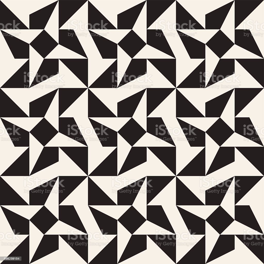 Vector Seamless Black And White Triangle Star Geometric Tessellation Pattern Royalty Free