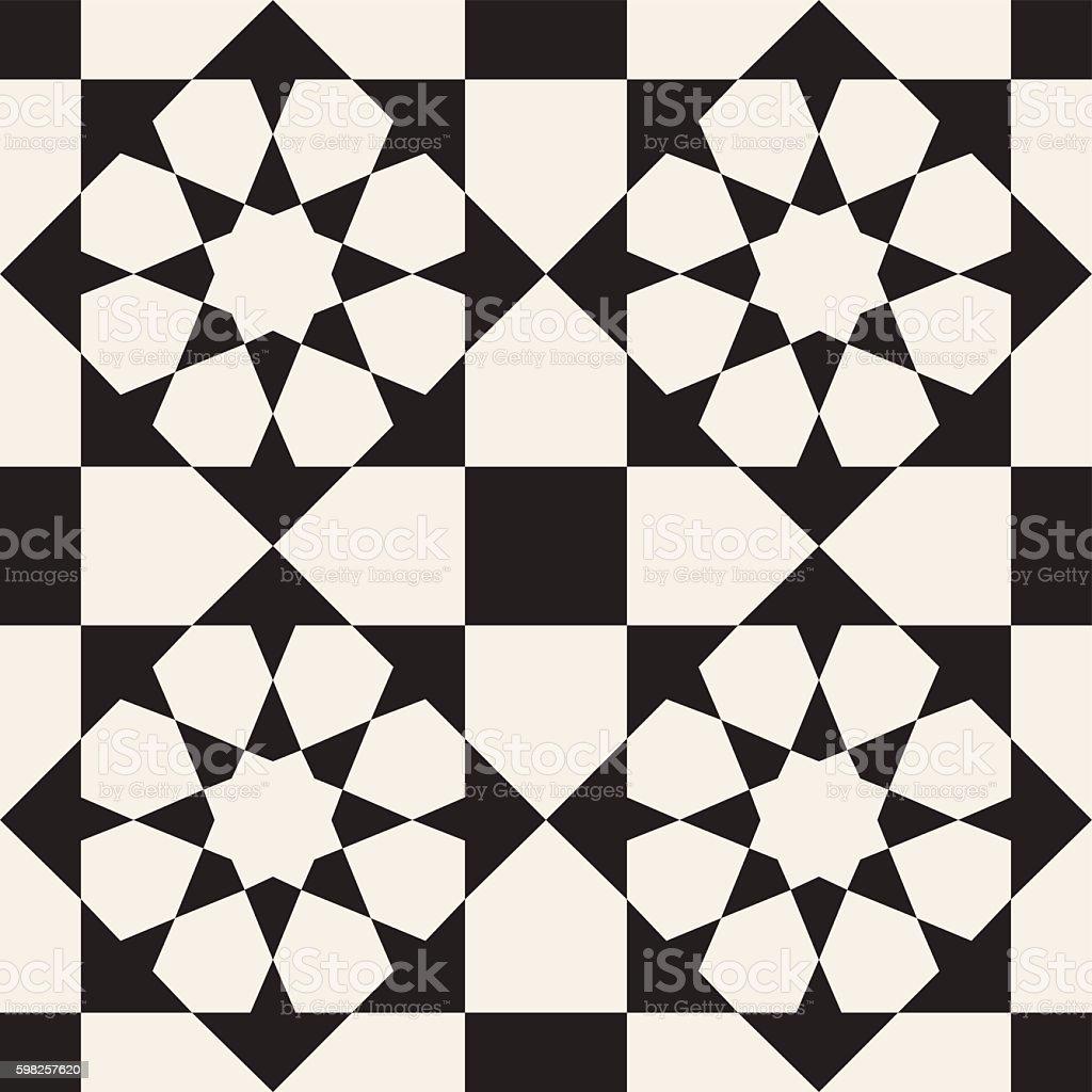 Vector Seamless Black White Geometric Pattern Stockvectorkunst En